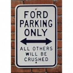 Plaque tôle Ford parking only